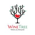 葡萄酒酒莊和葡萄樹Logo