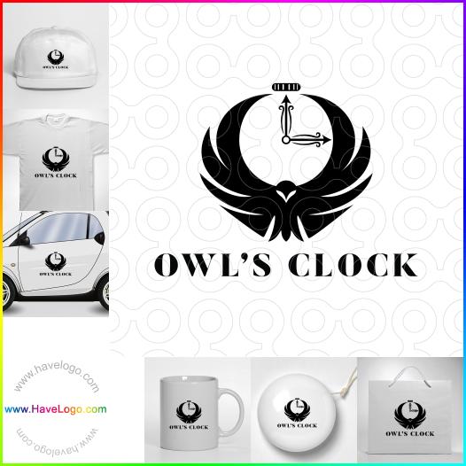 貓頭鷹的時鐘logo設計 - ID:65574
