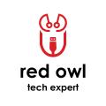紅色貓頭鷹技術專家Logo