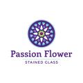 西番蓮的彩色玻璃Logo